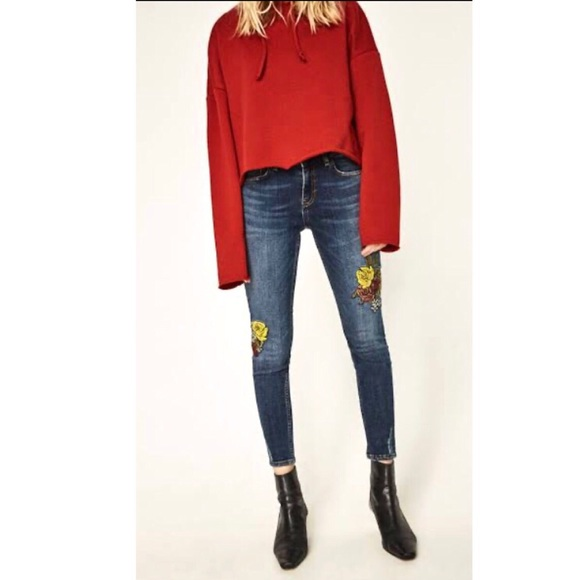 Zara Embroidered Distressed Skinny Jeans 2